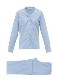 Derek Rose Gingham Cotton Pyjamas Blue