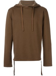 Blood Brother Side Zip Detail Hoodie Brown