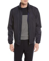 Zegna Sport Zip Front Jacket With Packaway Hood Blue