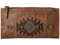 American West Folded Wallet Distressed Charcoal Brown Chestnut Brown Turquoise Wallet Handbags