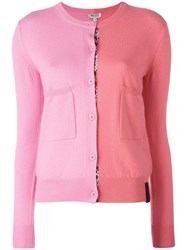 Kenzo Colour Block Cardigan Pink Purple