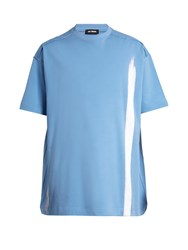 Raf Simons Oversized Bleach Print Cotton T Shirt Light Blue
