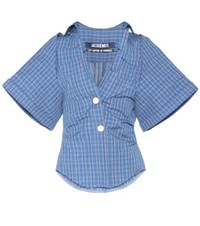 Jacquemus La Chemise Pape Cotton And Linen Shirt Blue