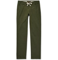 Freemans Sporting Club Slim Fit Cotton Ripstop Drawstring Trousers Dark Green