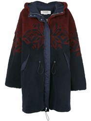Monse Patterned Shearling Coat Blue