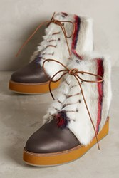 Anthropologie Australia Luxe Collective Bundaburg Faux Fur Boots Brown Motif