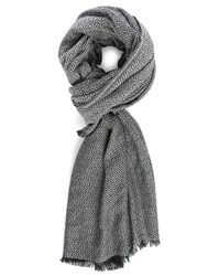 Ikks Black And White Xxl Wool Scarf