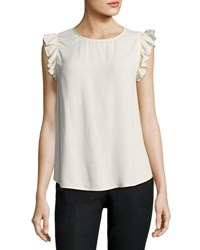 Ba And Sh Fina Round Neck Flutter Sleeve Blouse Ivory