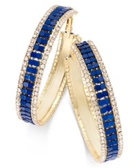 Thalia Sodi Gold Tone Blue Mesh And Crystal Hoop Earrings Only At Macy's