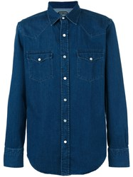 Tom Ford Snap Button Shirt Men Cotton 42 Blue
