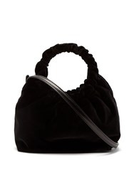 The Row Double Circle Small Velvet Bag Black