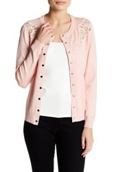 Chelsea And Theodore Long Sleeve Lace Detail Cardigan Petite Pink