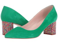 Kate Spade Milan Emerald Green Kid Suede Multicolor Stone Women's Shoes