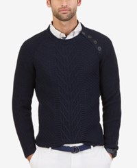 Nautica Men's Cable Knit Buttoned Crew Sweater Navy