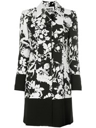 Fausto Puglisi Floral Patterned Coat Silk Acetate Wool White
