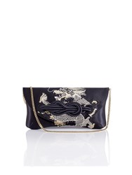 Shanghai Tang Dragon Embroidery Silk Knot Clutch Black
