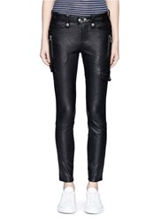 Frame Denim 'Moto' Lambskin Leather Pants Black