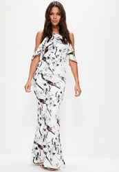 Missguided White Frill Cold Shoulder Printed Maxi Dress Cream