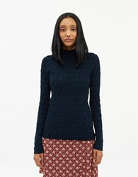 Farrow Patricia Textured Knit Top In Navy Size Extra Small 100 Cotton