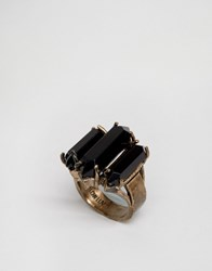 Low Luv X Erin Wasson Gold Plated Ring Gold Black