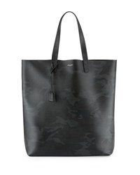 Saint Laurent Men's Camouflage Leather Tote Bag Black