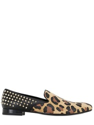 Giacomorelli Studded Leopard Loafers