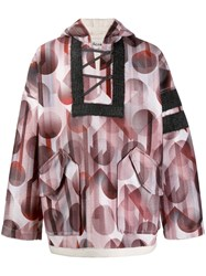 Acne Studios Football Print Pullover Jacket Brown
