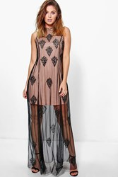 Boohoo Jelena High Neck Beaded Maxi Dress Black