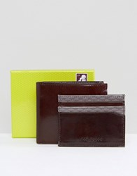 Ted Baker Wallet And Card Holder With Bi Fold And Internal Print Brown