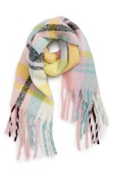 David And Young Plaid Boucle Scarf Multi Pink