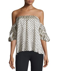 Johanna Ortiz Tulum Polka Dot Off The Shoulder Top White Black Size Xx Small
