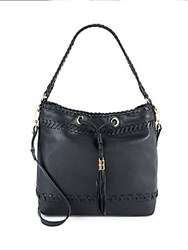 Milly Astor Whipstitch Leather Bucket Bag Black