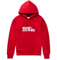 Ami Alexandre Mattiussi Printed Loopback Cotton Jersey Hoodie Red