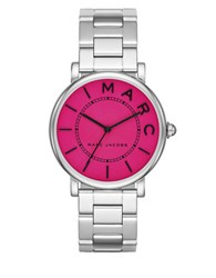 Marc Jacobs Roxy Stainless Steel Fuchsia Satin Dial Three Hand Bracelet Watch Silver