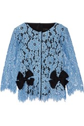 Marc Jacobs Bow Embellished Silk Twill Paneled Guipure Lace Top Light Blue