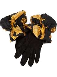Hermes Vintage Suede Gloves Black