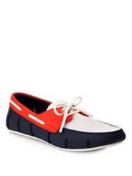Swims Sport Lace Up Loafers Navy Red