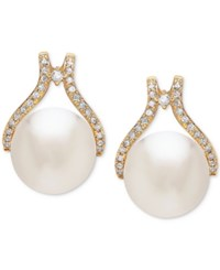 Honora Style Cultured White Ming Pearl 12Mm And Diamond 1 3 Ct. T.W. Stud Earrings In 14K Gold Yellow Gold