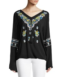 Chelsea And Theodore Embroidered V Neck Peasant Blouse Black