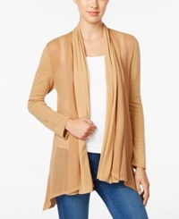 Styleandco. Style Co. Mixed Media Open Front Cardigan Only At Macy's Salty Caramel