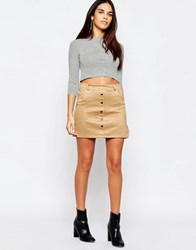 Wal G Suedette Skirt With Button Front Beige