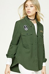 Forever 21 Patch Graphic Military Jacket Olive