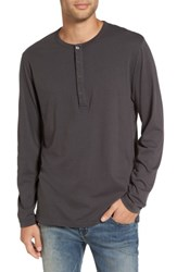 French Connection Men's Long Sleeve Henley T Shirt Charcoal