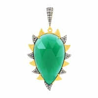 Meghna Jewels Claw Pendant Green Onyx And Diamonds