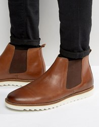 Asos Chelsea Boots In Tan Leather With White Sole Tan