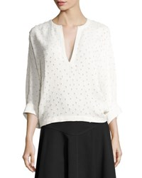 Derek Lam Swiss Dot Batwing Sleeve Blouse White