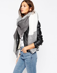 Asos Oversized Square Scarf In Oversized Blown Up Check Multi