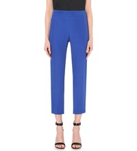 Armani Collezioni High Rise Straight Cropped Trousers Blue