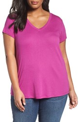 Sejour Plus Size Women's Short Sleeve V Neck Tee Purple Vintner