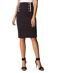 Karen Millen Button Detail Pencil Skirt Navy